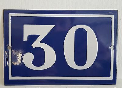 OLD FRENCH HOUSE NUMBER SIGN door gate PLATE PLAQUE Enamel steel metal 30 Blue
