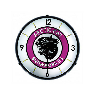 Arctic Cat Snowmobiles Logo Light Up Garage Clock 14 in.