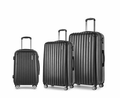 New Set Of 3 Hard Shell Travel Luggage With Tsa Lock Black Bags Suitcase Storage