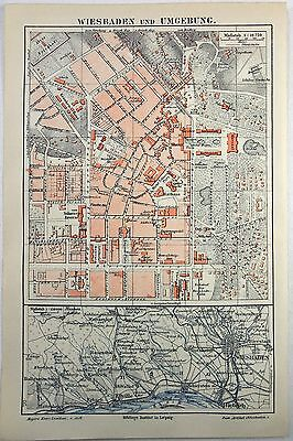 Original 1890 City Map of Wiesbaden and Vicinity, Germany