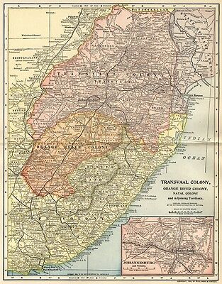 Transvaal Colony, Natal, Orange River Map: Authentic 1903 (Dated) Towns, Topog.