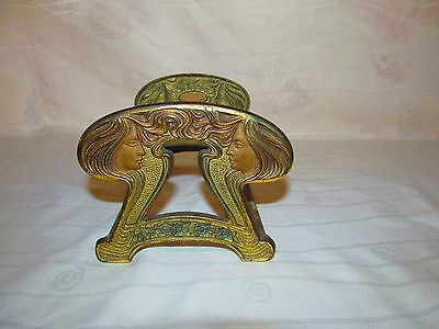 Antique Art Nouveau Ladies On Ends Brass Expand Slide Bookends #9759 Judd Co