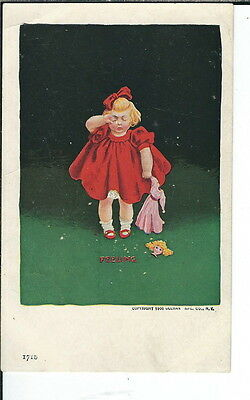 AY-073 - Feeling, Little Girl Crying, 1901-1907 Undivided Back Postcard