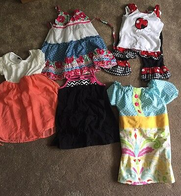 Girl Sz 4/4T Lot Of 5 Outfits/Dresses For Summer