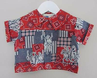 vintage boys cowboy shirt rockabilly 50's 60's new 18 months red blue western