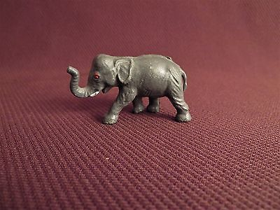 "Vintage Small Plastic Elephant Figurine - Unmarked - 1 1/8"" Tall & 2"" Long"