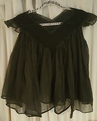 1950s Vintage Rogers Black Chiffon Nylon Lace Babydoll Pin Up Top Camisole S