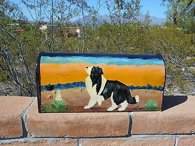 Border Collie hand-painted mailbox. Southwestern scene.