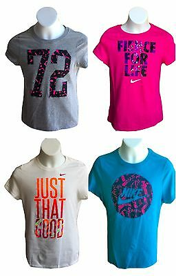 Brand New NWT Nike Girl Youth Kids Graphic T Shirts Tee athletic Grey Blue