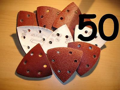 50 - 90 mm Triangle - MIXED  Delta Detail Mouse Palm  Sanding sheets Pads Velcro