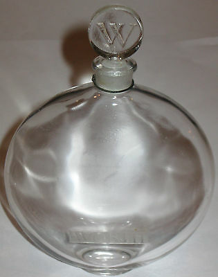 "Vintage Worth R Lalique Clear Glass Perfume Bottle  & Glass Stopper - 5 1/2"" Ht"