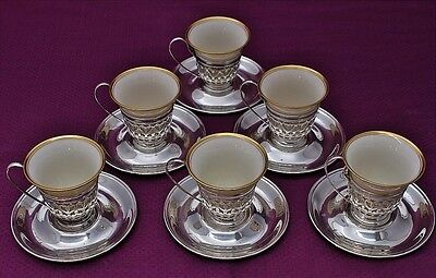 6 Gorham Sterling Silver and Lennox Porcelain Demitasse Cups and Saucers