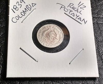 Nice find Colombia 1839 Popayan 1/2 REAL Silver Coin Possible re-punch date 3/3