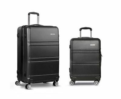 "New 2Pc Luggage Set 20"" And 28"" Black Hard Shell Tsa Lock Bags Suitcase Storage"