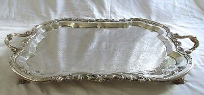 Heavy Silverplate Extra Large Footed Serving Tray Rogers Silver Platter