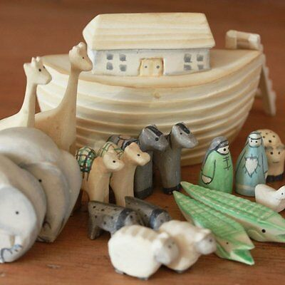 Noah's Ark Gift Boxed Set Hand Carved & Painted Christening New Baby Gift by of
