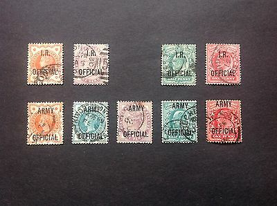 QV and EVII I.R. & Army Official Overprints fine used.