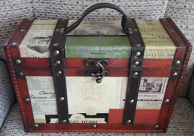 Wooden Box / chest, leather strap bindings and handle , good condition.