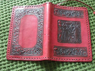 Vintage Dark Red Leather Book Slip Cover 9 x 13 inches