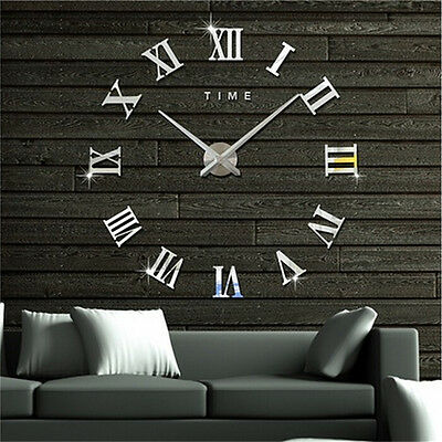 DIY 3D Wall Clock Roman Numerals Large Mirrors Surface Luxury Big Art Clock DSUK