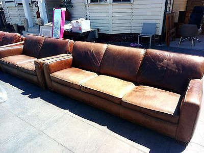 Freedom Brown Leather Hermitage 3 Seater + 2 Seater RRP $2699 NOW $499