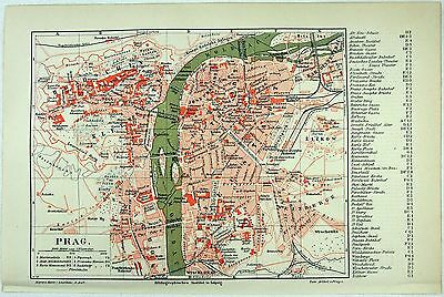 Original 1889 City Map of Prague by Meyers. Czech Austria Hungary Czechoslovakia