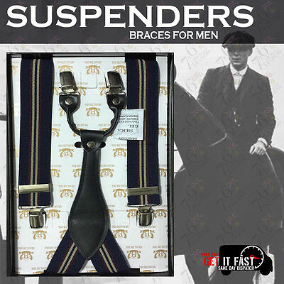 Brand NEW Heavy Duty Men SUSPENDER Braces Royal Blue Off-White Elastic 35mm Wide