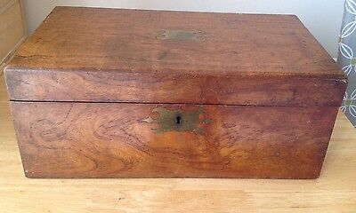 Antique Large Mahogany Box/Brass Fittings - Needs Restoration - Lock Included