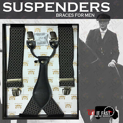 Brand NEW Heavy Duty Men SUSPENDER Braces Black & White PatternElastic 35mm Wide
