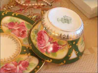 Antique 1900's  LIMOGES CORONET B MOEM TEA CUP AND SAUCER Hand painted Gold