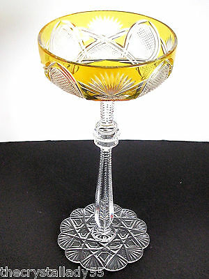 1 Faberge Czar Amber Gold Cased Cut To Clear Saucer Champagne Signed