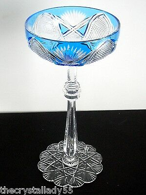1 Faberge Czar Azzure Light Blue Cased Cut To Clear Saucer Champagne Signed
