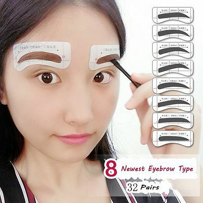 32Pairs Shaper Eye Grooming Eyebrow Template Stickers 8 Types Brow Stencils