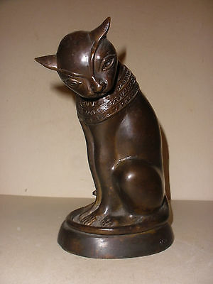 Nice vintage bronze Egyptian Goddess Bastet Cat statue sculpture