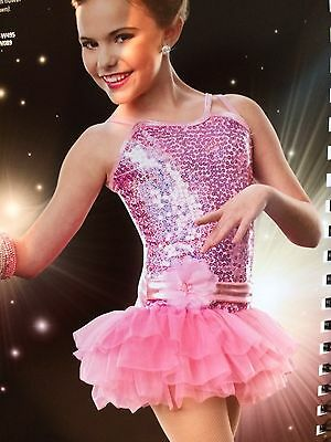 IN STOCK Pink Sequin Frill Skirt Jazz Modern Dress Dance Costume Adult Small