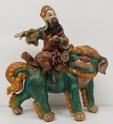 Rare Chinese Roof Tile Warrior & Foo Dog Statue.