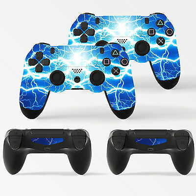 2 x Electric Blue Storm PlayStation 4 Controller Skins  Full Wrap Vinyl Sticker