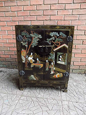 Oriental Chinese Black Lacquered trinket chest