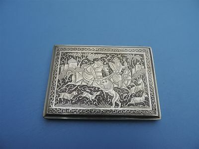 Ultra Fine  Signed PERSIAN Islamic Qajar 1920'S Solid Silver cigarette Card Case