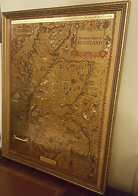 AE Taylor 31, Rare Story Map of Scotland Pictorial Map Scotland  Gold Etching