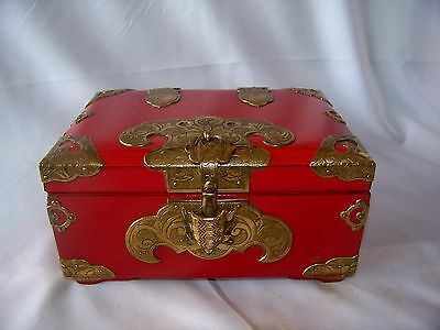 Vintage Oriental Red Lacquer Box with Elaborate Gold Metal Decoration