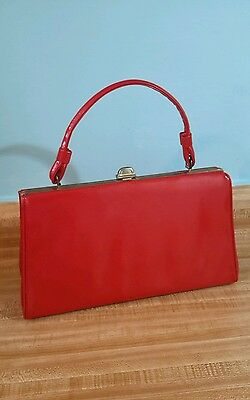 Sweet Vintage Red Patent Leather Purse with Top Handle