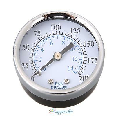 "1/4"" NPT Air Pressure Gauge Air Compressor Hydraulic 2"" Face 0-200 Back Mnt New"