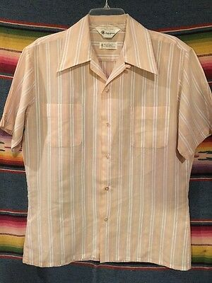 Vintage 50's / 60's Mr. California Striped Loop Collar Rockabilly Shirt Size M