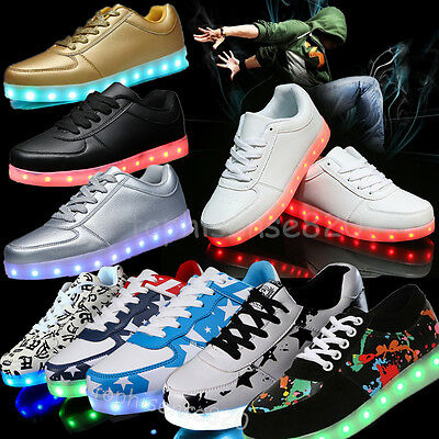 7 Color LED Light Up Unisex Luminous USB Rechargeable Shoes Casual Lace Sneakers