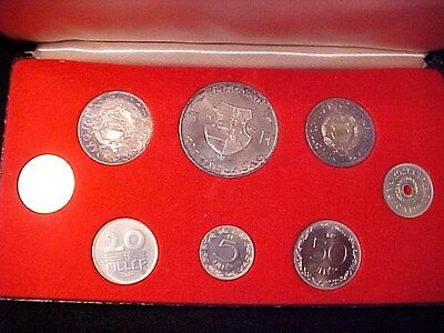 Hungary 8-Coin Proof Set 1967 Scarce In Case With Toned Silver