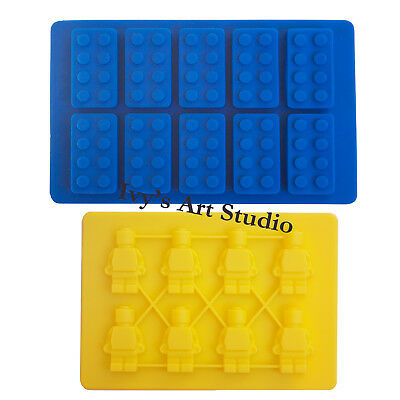 Lego Brick & Minifigure Man Ice Cube Tray Silicone Molds Chocolate Cake Moulds