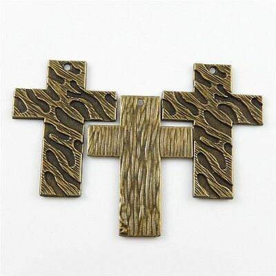 15pcs Retro Style Cross Alloy Vintage Bronze Tone Charms Pendants Jewelry Making