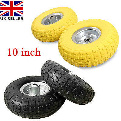"1 Pair 10"" Replacement Rubber Tyre Wheel No More Flats Sack Truck Trolley Cart"