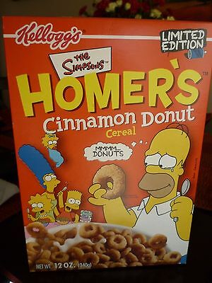 Kelloggs Limited Edition 2001 HOMER'S Homer Simpson Cinnamon Donut Cereal-Sealed